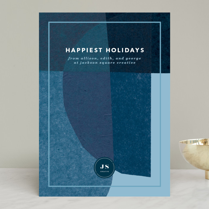 """""""simple holiday tissue"""" - Modern Business Holiday Cards in Midnight by Carrie Moradi."""