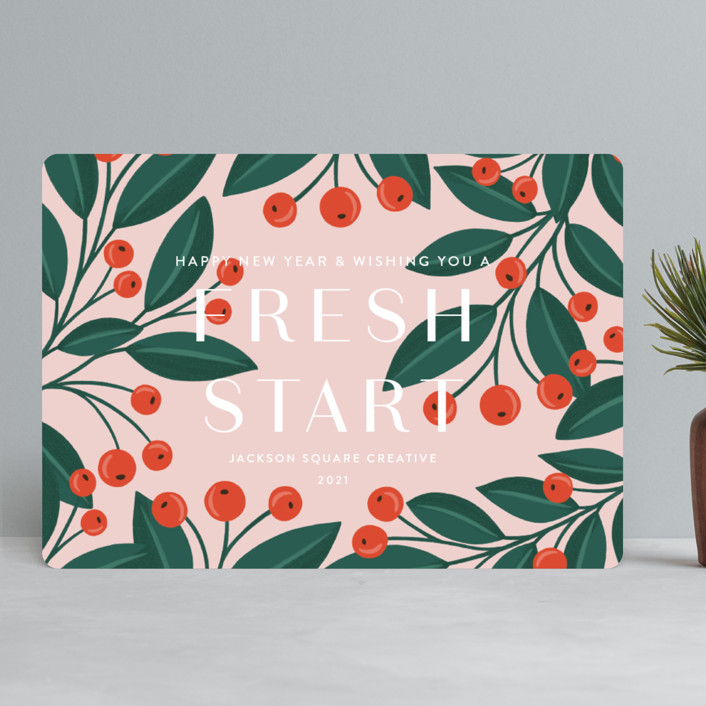 """Very Merry Christmas"" - Business Holiday Cards in Rose by Yaling Hou Suzuki."