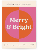 This is a orange business holiday card by Nazia Hyder called Modern Retro Holiday with standard printing on signature in standard.