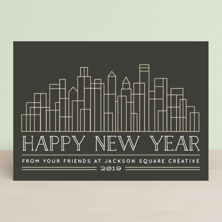 """""""City Skylines"""" - Business Holiday Cards in Charcoal by Jessie Steury."""