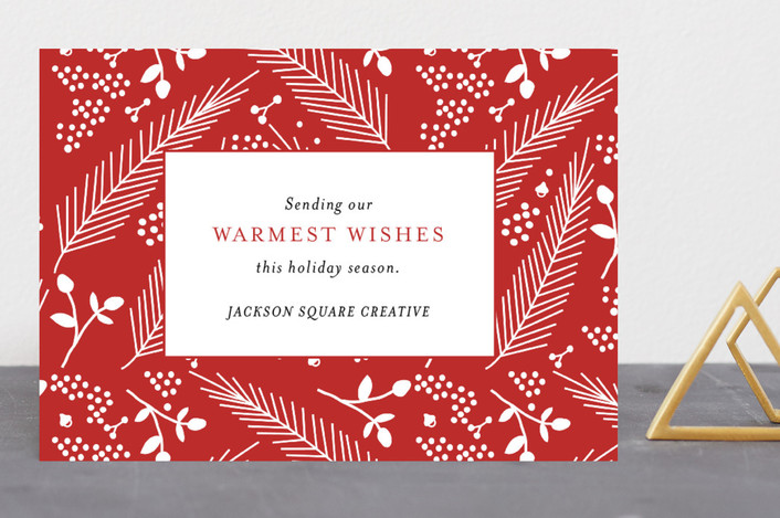 """""""Festive Foliage"""" - Business Holiday Cards in Ruby by Kimberly FitzSimons."""