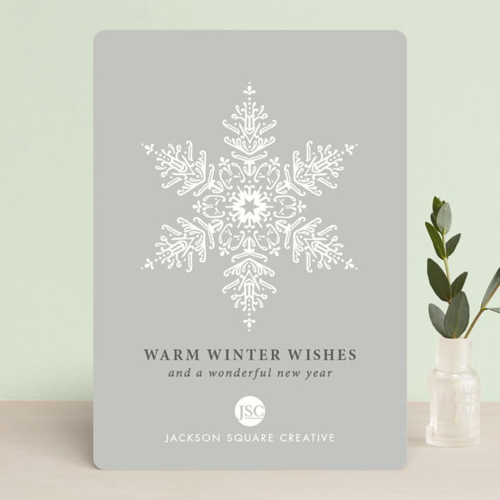 """Snow Crystal"" - Business Holiday Cards in Smoke by Kimberly Morgan."