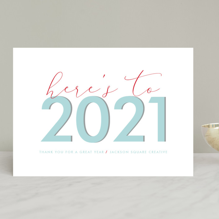 """Here's to 2018"" - Business Holiday Cards in Teal by Kanika Mathur."