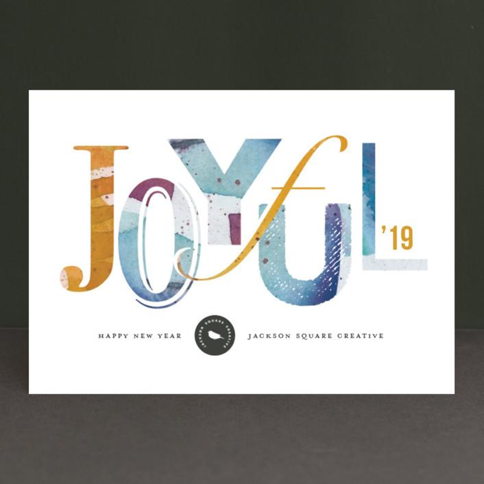 """Joyful Splash"" - Modern Business Holiday Cards in Lemon Tart by Snow and Ivy."