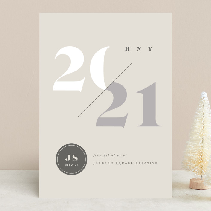 """Slash"" - Modern Business Holiday Cards in Ash by fatfatin."