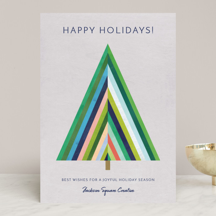 """Modern Striped Holiday Tree"" - Modern Business Holiday Cards in Smoke by melanie mikecz."