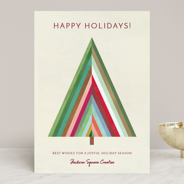 """""""Modern Striped Holiday Tree"""" - Modern Business Holiday Cards in Cream by melanie mikecz."""