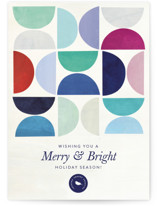 This is a blue business holiday card by melanie mikecz called Half Circle Pattern with standard printing on signature in standard.