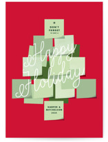 This is a red business holiday card by Baumbirdy called Post It Tree with standard printing on signature in standard.