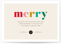 This is a red business holiday card by Genna Blackburn called Colorful Grateful with standard printing on signature in standard.