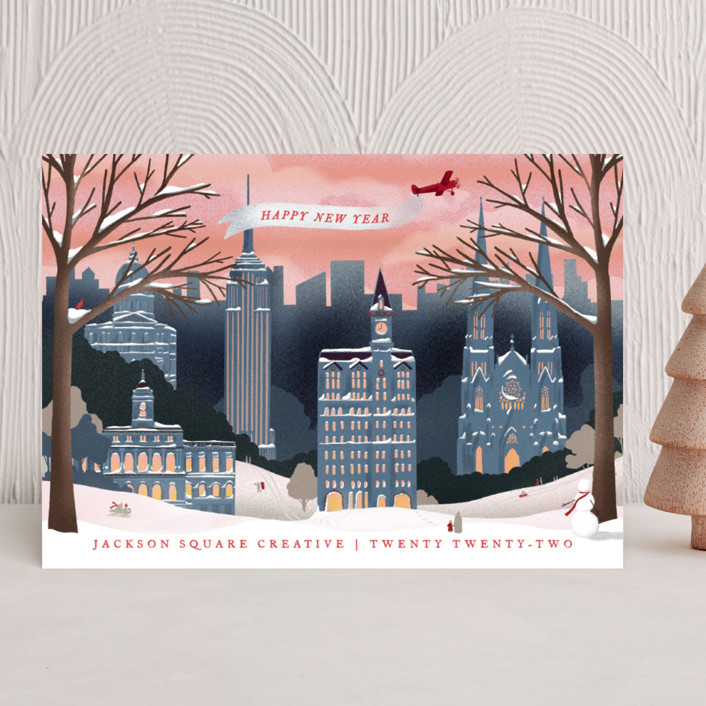 """""""Vintage New York Winter"""" - Vintage Business Holiday Cards in Frost by Becky Nimoy."""