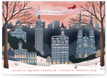 This is a blue business holiday card by Becky Nimoy called Vintage New York Winter with standard printing on signature in standard.