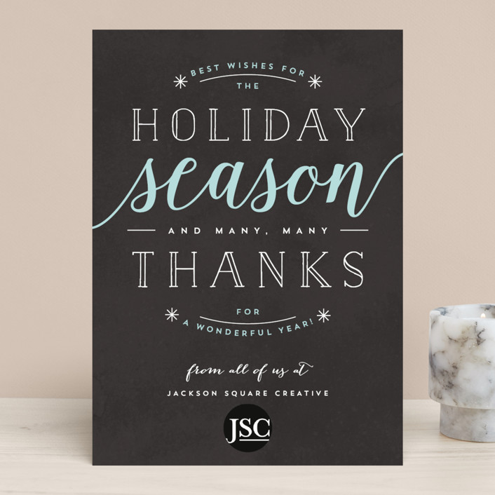 """""""Thankful Holiday Wishes"""" - Business Holiday Cards in Charcoal by Kelly Schmidt."""