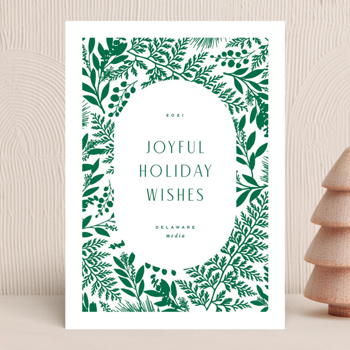 """""""Joyful Holiday Wishes"""" - Business Holiday Cards in Evergreen by Hooray Creative."""