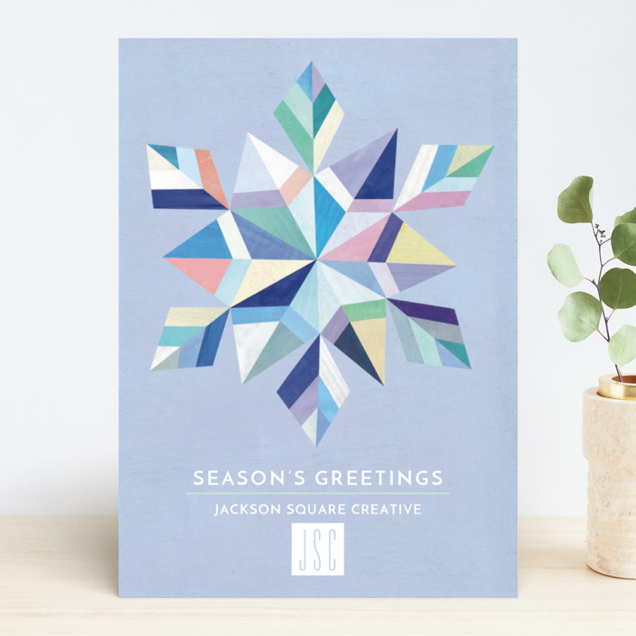 """Geometric Snowflake"" - Modern Business Holiday Cards in Snowflake by melanie mikecz."