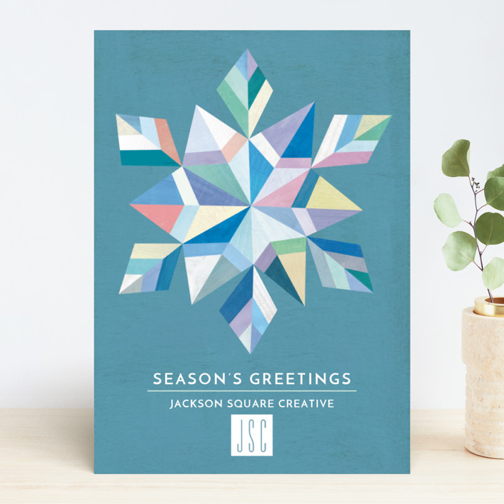 """Geometric Snowflake"" - Vintage Business Holiday Cards in Aqua by melanie mikecz."
