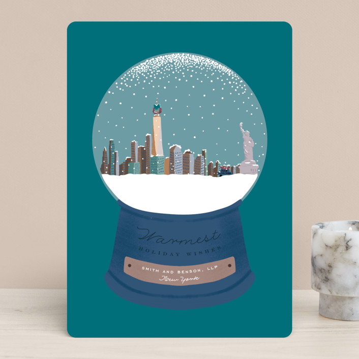 """Snowy Scene"" - Business Holiday Cards in Cerulean by Leah Bisch."