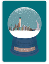 This is a blue business holiday card by Leah Bisch called Snowy Scene with standard printing on signature in standard.