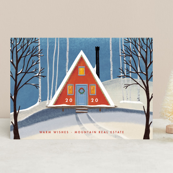 """""""Snowy A-Frame"""" - Vintage Business Holiday Cards in Chartreuse by Becky Nimoy."""