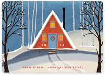 This is a orange business holiday card by Becky Nimoy called Snowy A-Frame with standard printing on signature in standard.