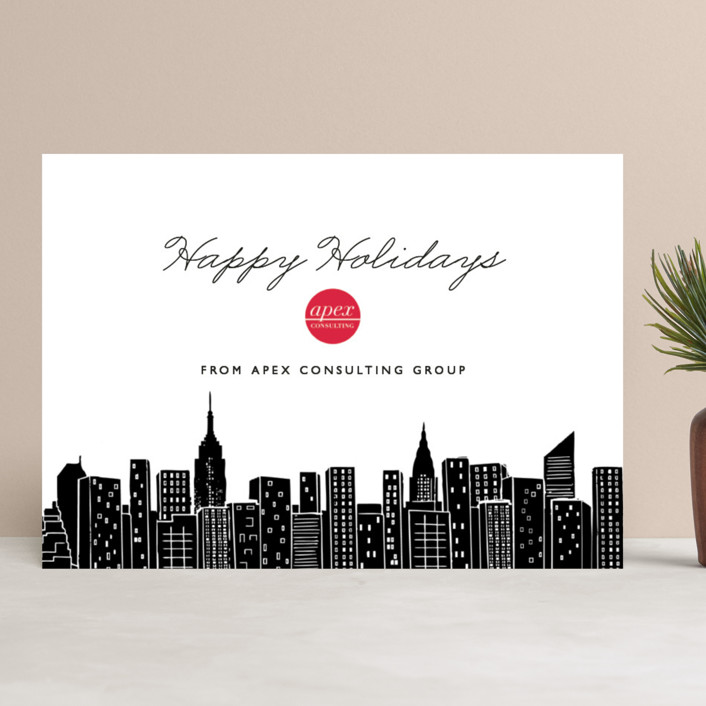 """Big City - New York"" - Business Holiday Cards in Black Ink by Hooray Creative."