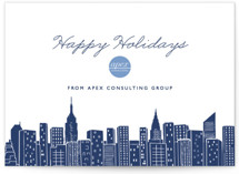 This is a blue business holiday card by Hooray Creative called Big City - New York with standard printing on signature in standard.