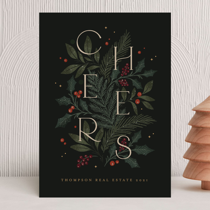 """""""Winter Cheers"""" - Business Holiday Cards in Forest by Kristen Smith."""