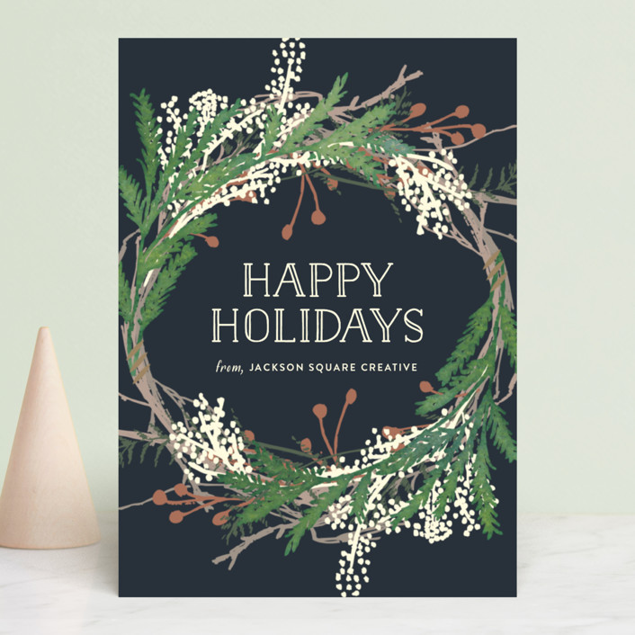 """""""Pine Circle"""" - Business Holiday Cards in Moss by Leah Bisch."""