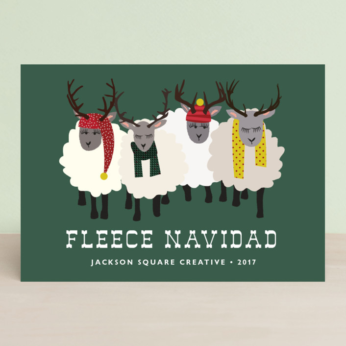 """Fleece Navidad"" - Funny Business Holiday Cards in Forest by 24th and Dune."