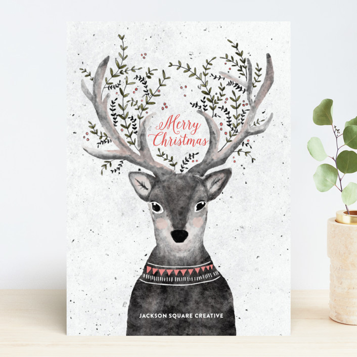 """""""Reindeer Love"""" - Bohemian Business Holiday Cards in Grapefruit by Cass Loh."""