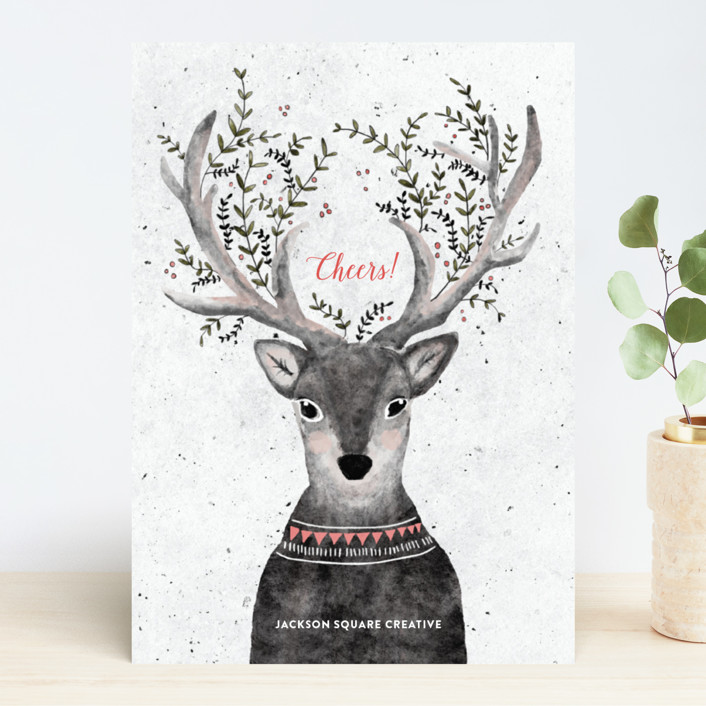 """Reindeer Love"" - Bohemian Business Holiday Cards in Grapefruit by Cass Loh."