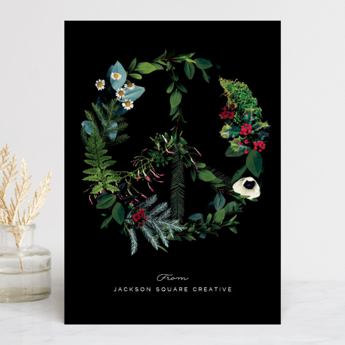 """Floral Peace"" - Business Holiday Cards in Onyx by Baumbirdy."