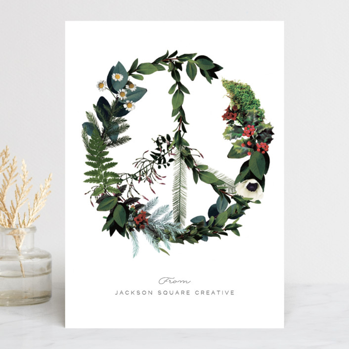 """""""Floral Peace"""" - Business Holiday Cards in Onyx by Baumbirdy."""