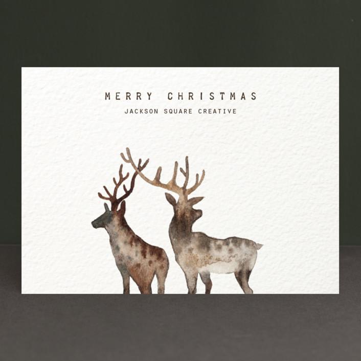 """Merry Christmas, My Deers"" - Bohemian Business Holiday Cards in Deer by jinseikou."