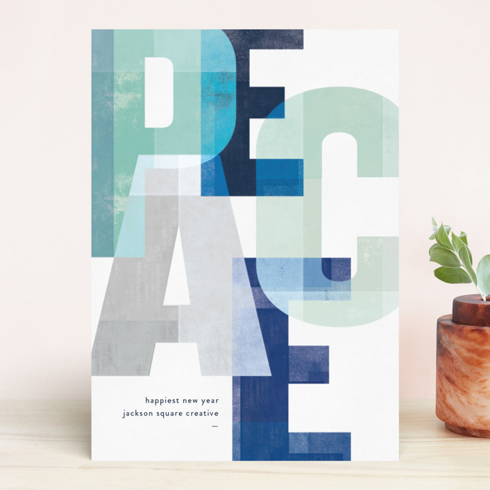 """Woodblock Peace"" - Business Holiday Cards in Mint by Robert and Stella."
