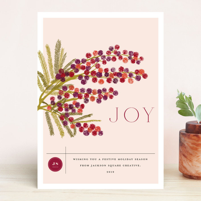 """Berry branch"" - Business Holiday Cards in Currant by Nazia Hyder."