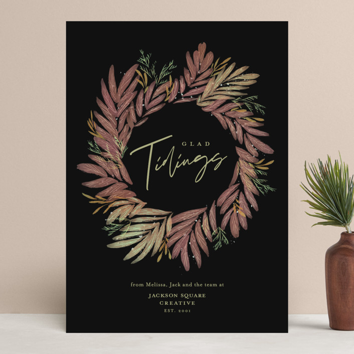 """Glad Tidings"" - Business Holiday Cards in Aglow by Calluna Fine Paper."