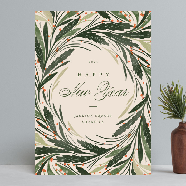 """""""Greenery Wreath"""" - Vintage Business Holiday Cards in Evergreen by Erin L. Wilson."""