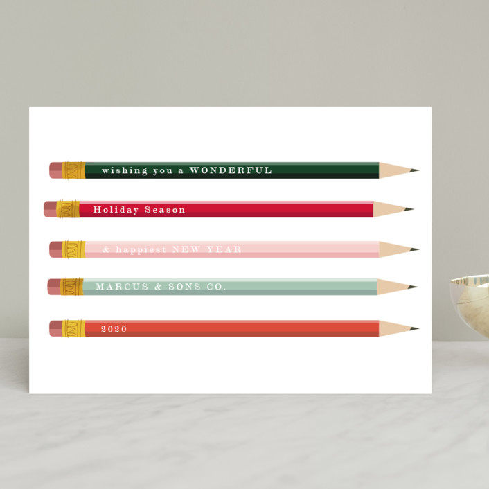 """""""Pencil It In"""" - Modern Business Holiday Cards in Holly by Baumbirdy."""