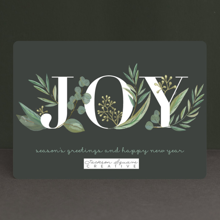 """""""Greenery"""" - Business Holiday Cards in Coal by Jessie Steury."""