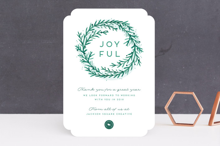 """Painted Pine Wreath"" - Business Holiday Cards in Pear by Jessica Maslyn."