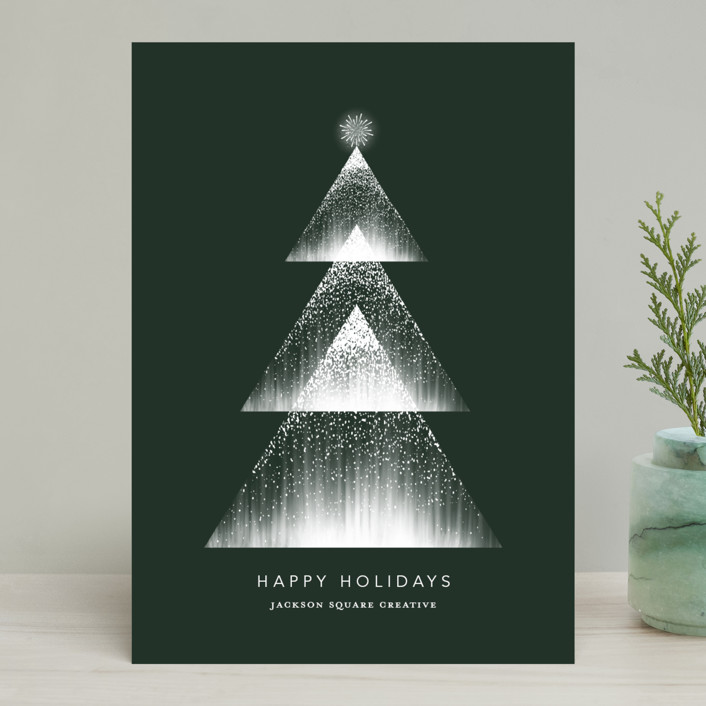"""""""Lights"""" - Modern Business Holiday Cards in Deep Forest by Vivian Yiwing."""