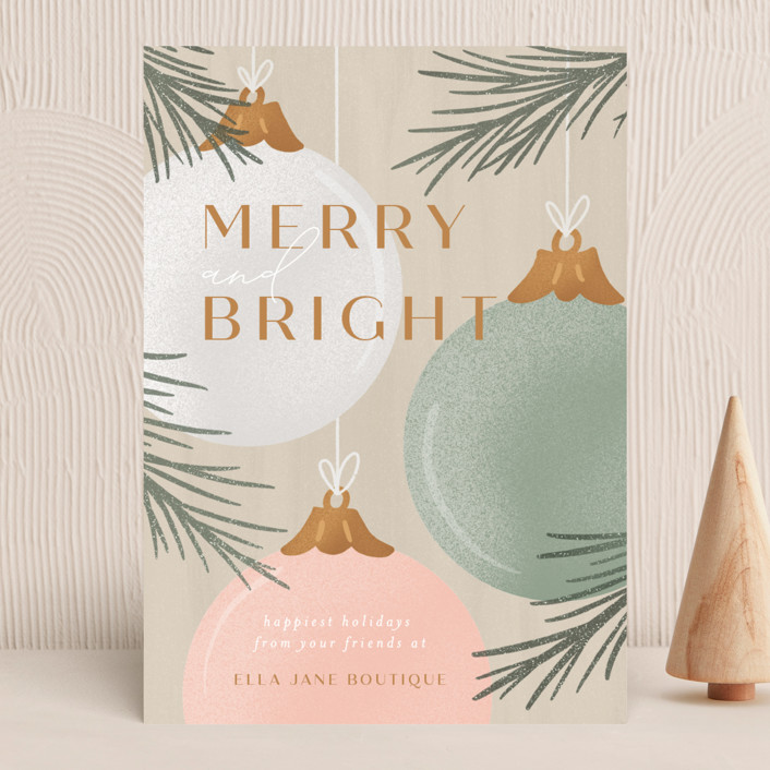 """""""Ornaments"""" - Business Holiday Cards in Almond by Erin German."""