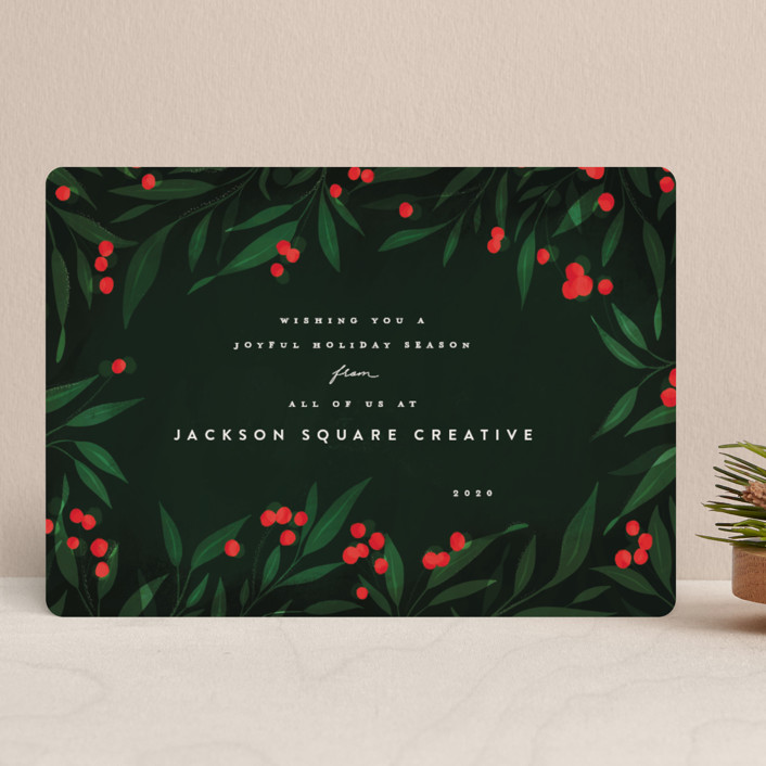 """Holly Berries Holiday"" - Business Holiday Cards in Holly Berry by Julie Murray."