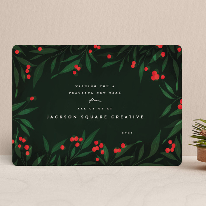 """""""Holly Berries Holiday"""" - Business Holiday Cards in Holly Berry by Julie Murray."""