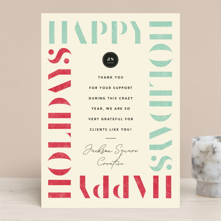 """""""Stencil Border"""" - Business Holiday Cards in Eggnog by Robert and Stella."""