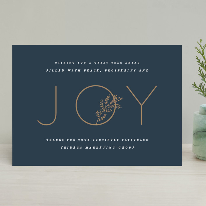 """""""Handsome Joy"""" - Business Holiday Cards in Navy by Hooray Creative."""