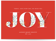This is a red business holiday card by Ann Gardner called Everyday Joy with standard printing on signature in standard.