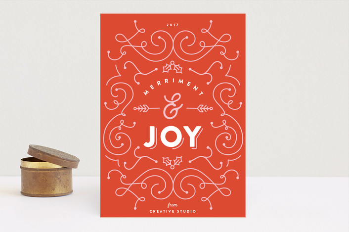 """""""Merriment & Joy"""" - Vintage Business Holiday Cards in Crimson by Haley Fischer."""