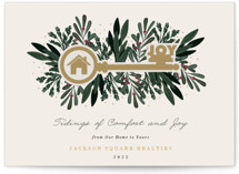 This is a brown business holiday card by Oma N. Ramkhelawan called Joyful Home with standard printing on signature in standard.
